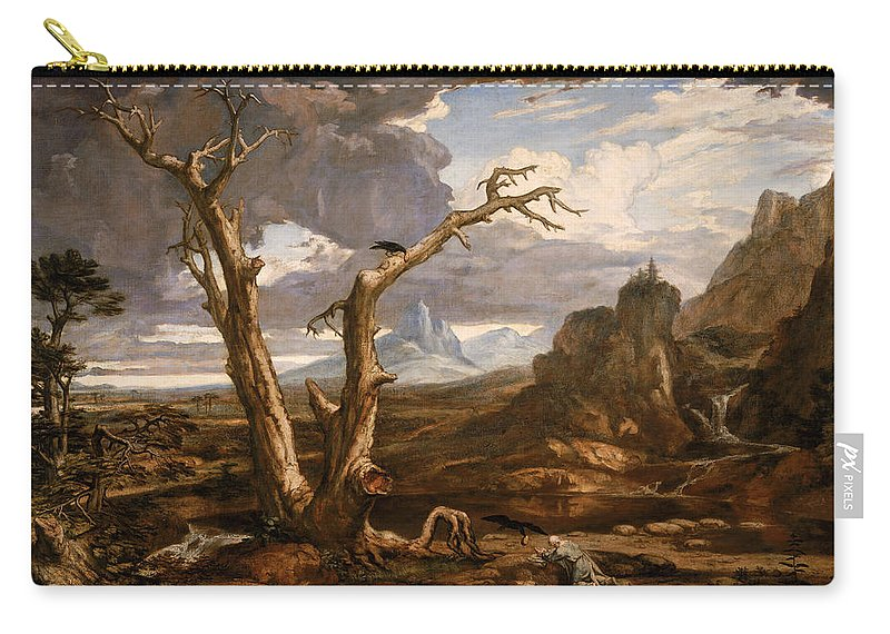 Washington Allston Carry-all Pouch featuring the painting Elijah In The Desert by Washington Allston