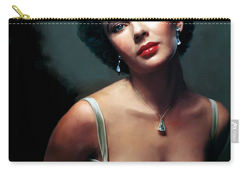 Elizabeth Carry-all Pouch featuring the painting Elizabeth Taylor by Paul Tagliamonte