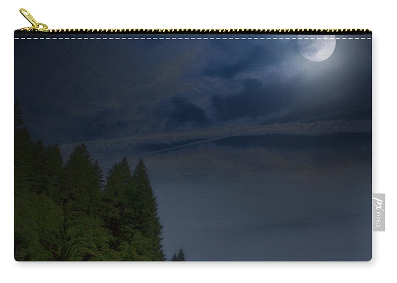 Elk Carry-all Pouch featuring the photograph Elk Under A Full Moon by Belinda Greb