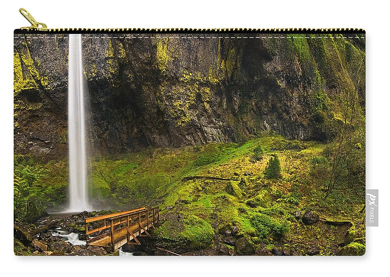 Elowah Falls Carry-all Pouch featuring the photograph Elowah Falls Panorama - Columbia River Gorge In Oregon by Jamie Pham