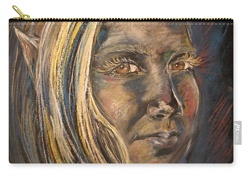 Portrait Carry-all Pouch featuring the painting Elven Portrait Of Haley by Jennifer Christenson