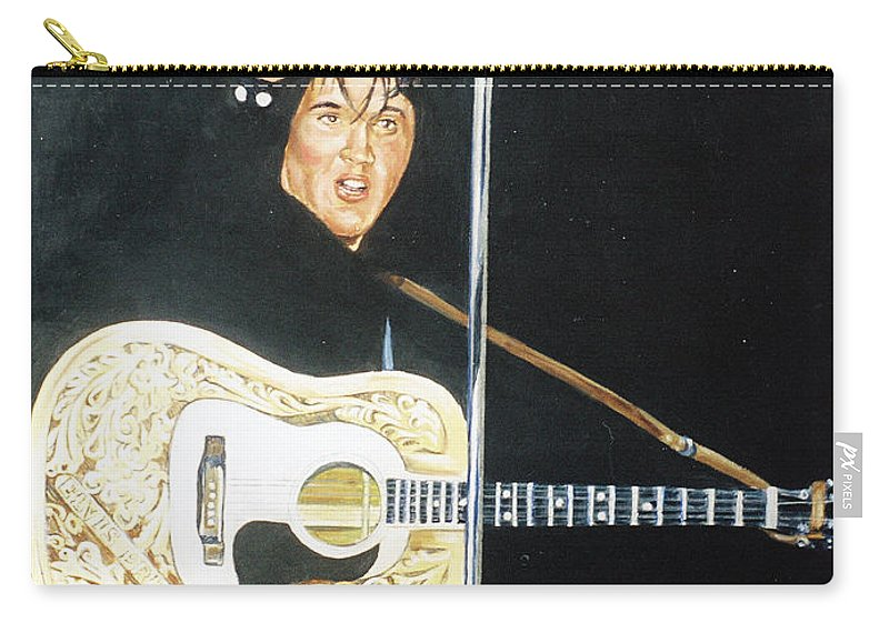 Elvis Presley Carry-all Pouch featuring the painting Elvis 1956 by Bryan Bustard