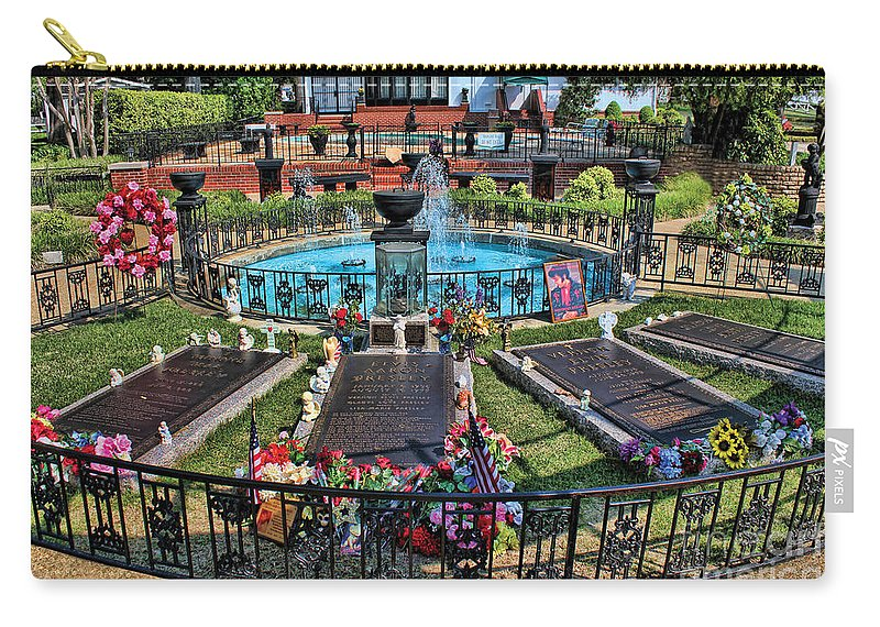 Elvis Carry-all Pouch featuring the photograph Elvis Presley Burial Site by Carlos Diaz