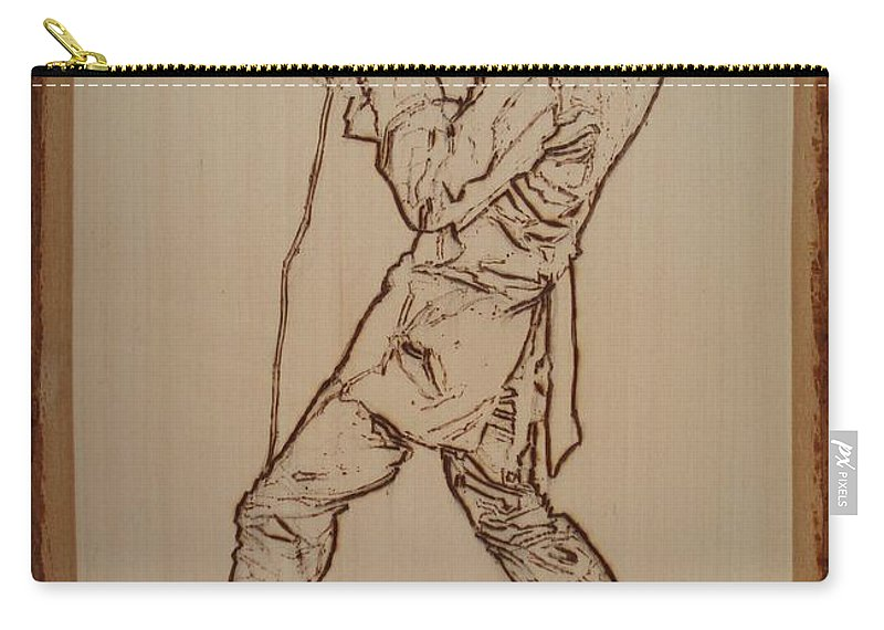 Pyrography Carry-all Pouch featuring the pyrography Elvis Presley - If I Can Dream by Sean Connolly