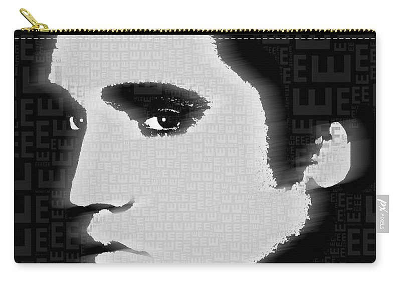 Elvis Presley Carry-all Pouch featuring the painting Elvis Presley Silhouette On Black by Tony Rubino