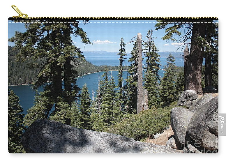Emerald Bay Carry-all Pouch featuring the photograph Emerald Bay Vista by Carol Groenen