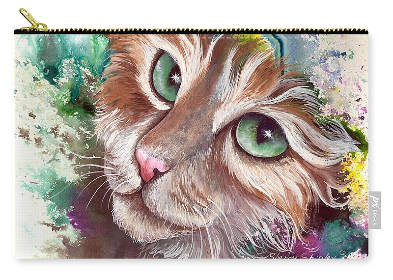 Cat Carry-all Pouch featuring the painting Emerald Eyes by Sherry Shipley