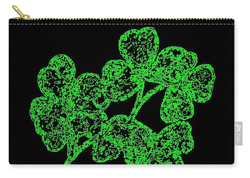Emerald Isle Shamrocks Carry-all Pouch featuring the digital art Emerald Isle Shamrocks by Will Borden