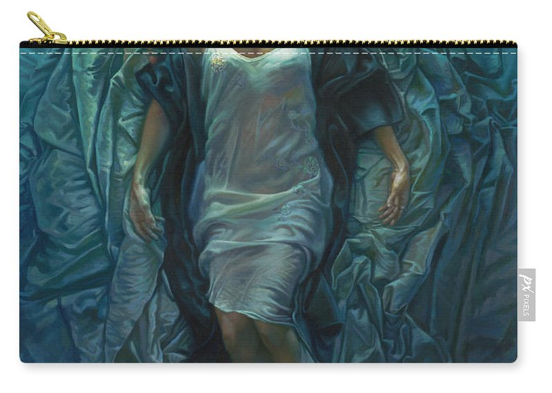 Conceptual Carry-all Pouch featuring the painting Emerge Painting by Mia Tavonatti
