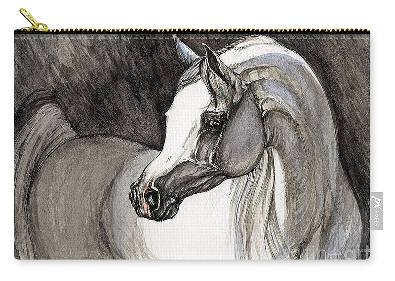 Grey Horse Carry-all Pouch featuring the painting Emerging From The Darkness by Angel Ciesniarska