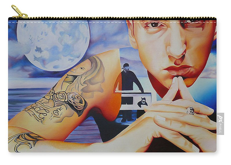 Emminem Carry-all Pouch featuring the painting Emminem by Joshua Morton