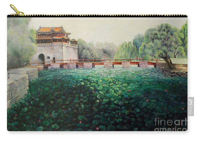Landscape Carry-all Pouch featuring the painting Emperor's Summer Palace by Marlene Book