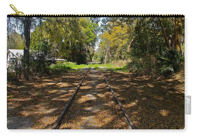 Railroad Track Carry-all Pouch featuring the photograph Empty Railroad Tracks by Denise Mazzocco