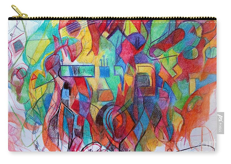 Torah Carry-all Pouch featuring the drawing Emunah 21 by David Baruch Wolk