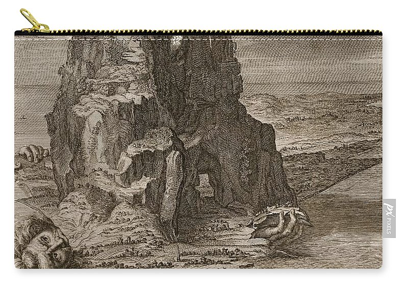 Giant Carry-all Pouch featuring the drawing Enceladus Buried Underneath Mount Etna by Bernard Picart