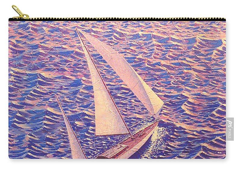 Sailboat Sunset Carry-all Pouch featuring the painting John Samsen by John Samsen