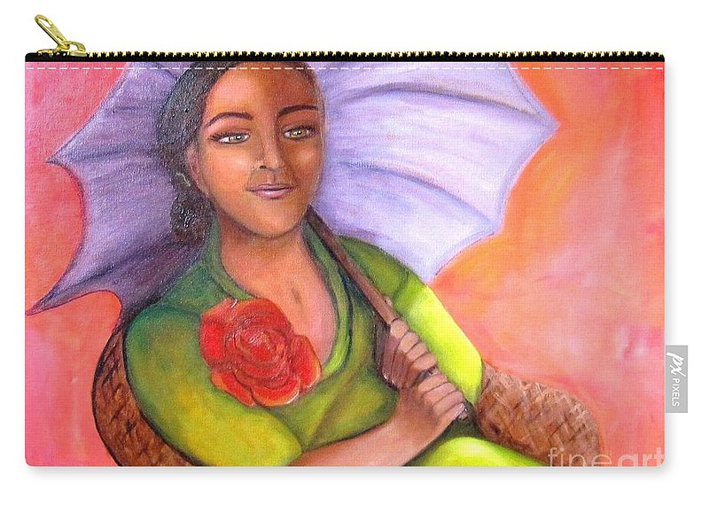 Rose Carry-all Pouch featuring the painting Enchanted Rose by Laurie Morgan