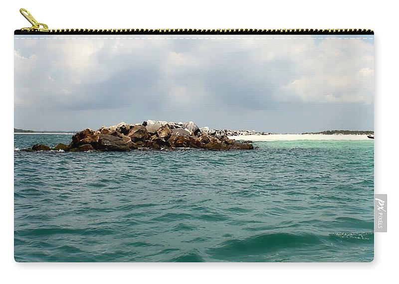 Florida Carry-all Pouch featuring the photograph End Of The Jetty by Debra Forand
