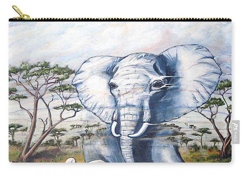 Elephant Carry-all Pouch featuring the painting Endangered by Jerome Stumphauzer
