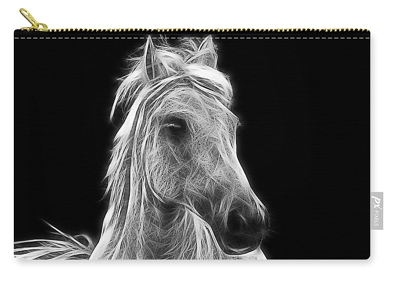 Horse Carry-all Pouch featuring the photograph Energetic White Horse by Joachim G Pinkawa