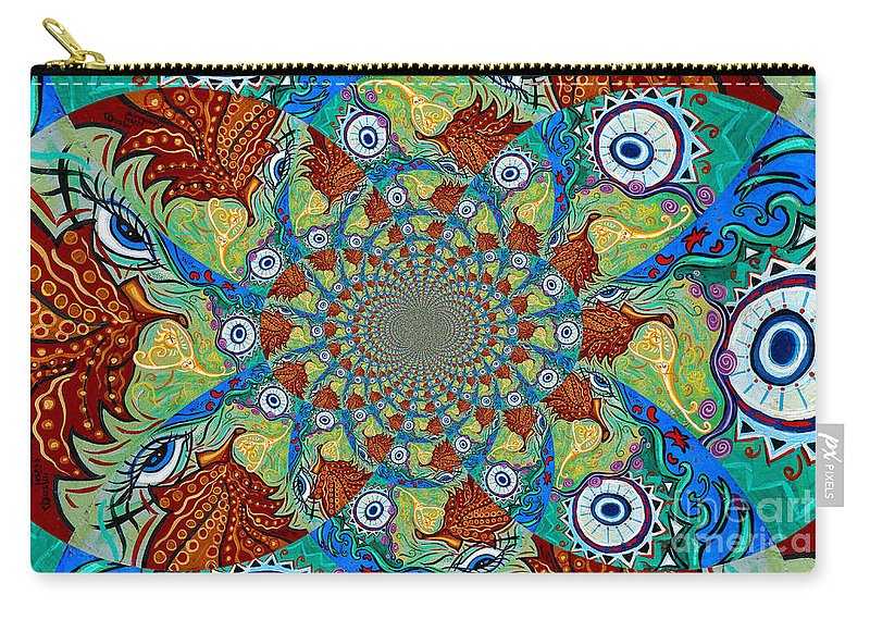 Energy Carry-all Pouch featuring the painting Energy Sprite Kaleidosope by Genevieve Esson