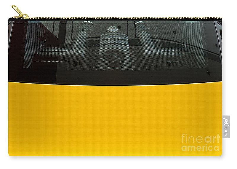 Yellow Carry-all Pouch featuring the photograph Engine Bay Rear Window by Rick Piper Photography