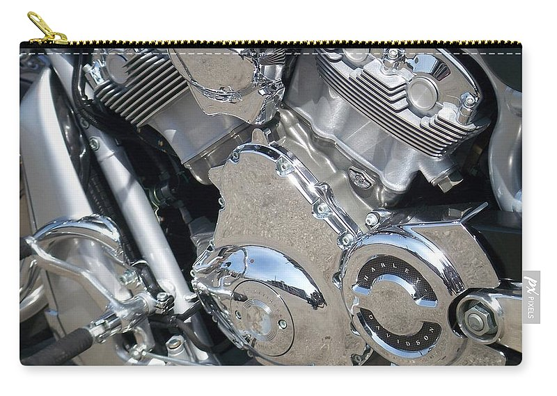 Motorcycles Carry-all Pouch featuring the photograph Engine Close-up 3 by Anita Burgermeister