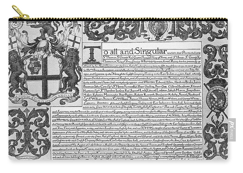 1698 Carry-all Pouch featuring the painting England Trade Charter by Granger