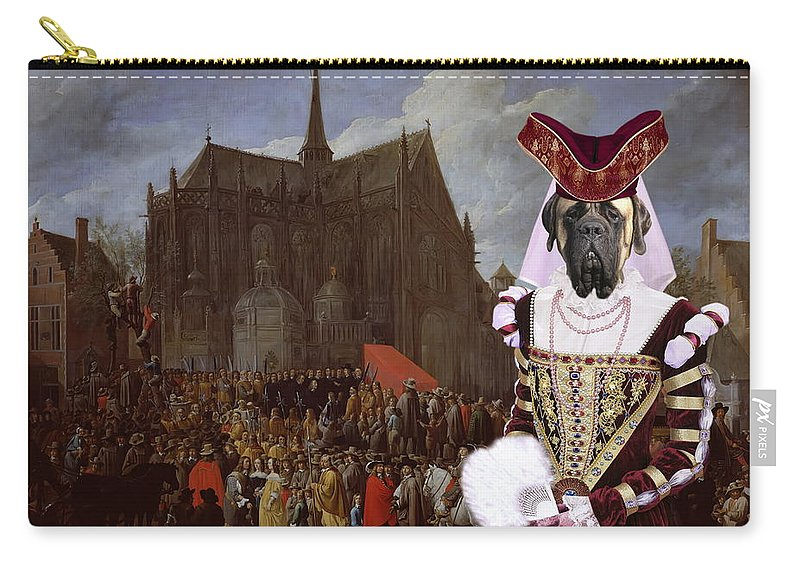 English Mastiff Carry-all Pouch featuring the painting English Mastiff - Mastiff Art Canvas Print - Waiting For Her Turn by Sandra Sij