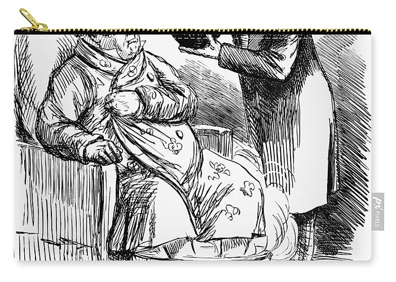 1860 Carry-all Pouch featuring the photograph English Tax Cartoon, 1860 by Granger
