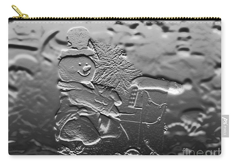 Music Carry-all Pouch featuring the photograph Engraved Snowman Playing The Piano by Thomas Woolworth
