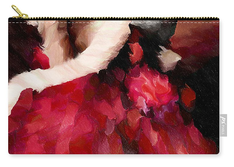 Abstract Carry-all Pouch featuring the mixed media Enigma Of A Geisha - Abstract Realism by Georgiana Romanovna