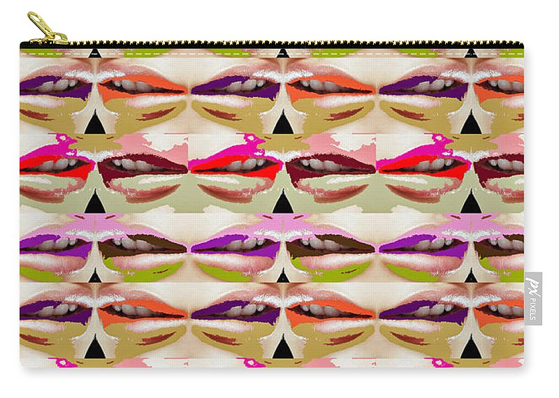 Sensual Carry-all Pouch featuring the mixed media Enjoy Bliss Of Artistic Sensual Aura Lips Kiss Romance Pattern Digital Graphic Signature  Art Nav by Navin Joshi