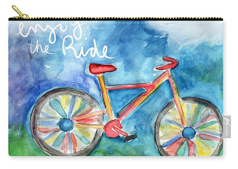 Bike Carry-all Pouch featuring the painting Enjoy The Ride- Colorful Bike Painting by Linda Woods