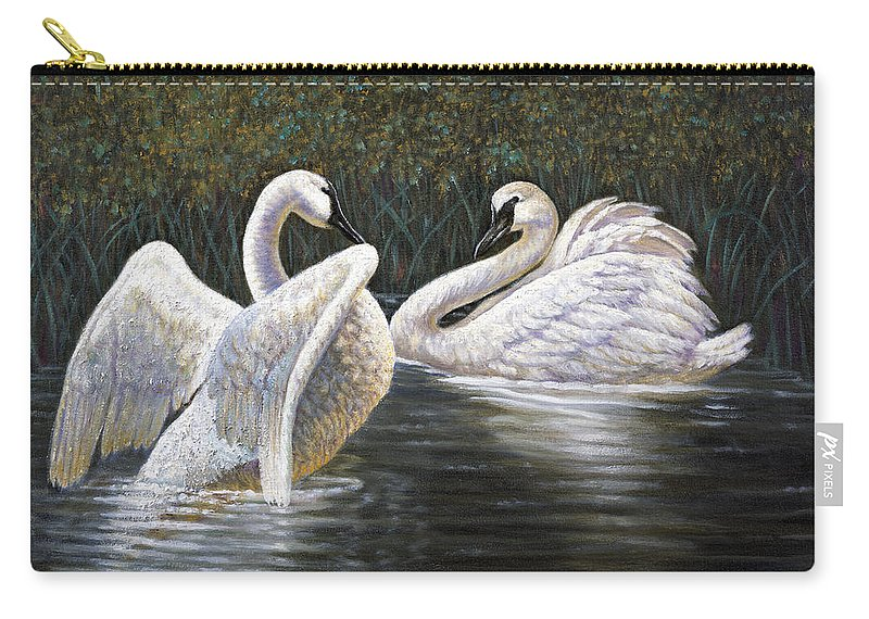 Gregory Perillo Carry-all Pouch featuring the painting Enjoying The Trumpeter Swans by Gregory Perillo