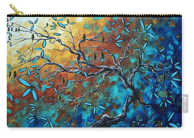 Art Carry-all Pouch featuring the painting Enormous Abstract Bird Art Original Painting Where The Heart Is By Madart by Megan Duncanson