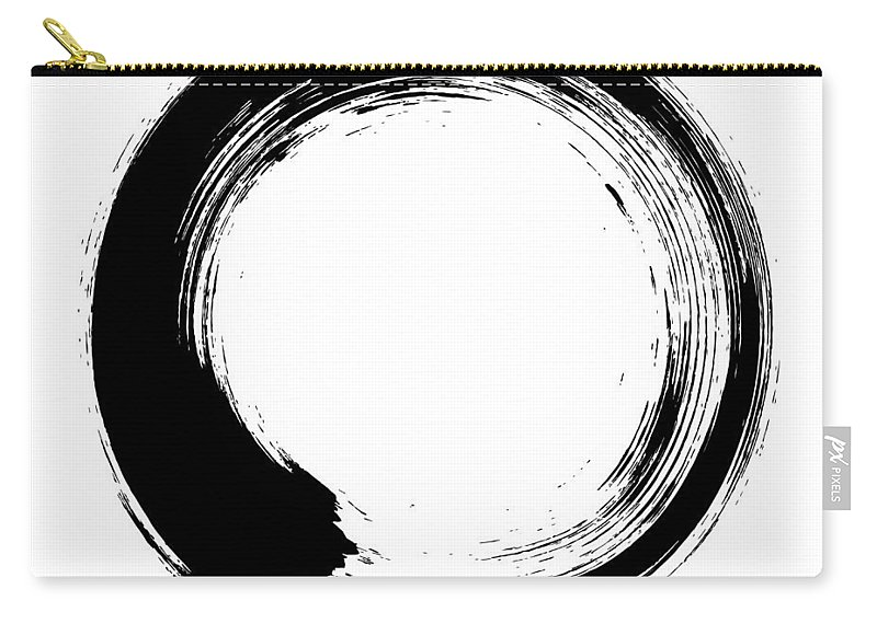East Carry-all Pouch featuring the digital art Enso – Circular Brush Stroke Japanese by Thoth adan