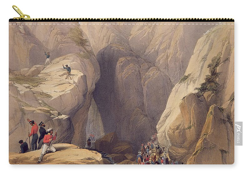 Mountain Range Carry-all Pouch featuring the drawing Entrance To The Kojak Pass From Parush by James Atkinson