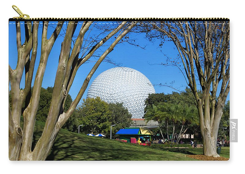 Epcot Globe Carry-all Pouch featuring the photograph Epcot Globe Walt Disney World by Thomas Woolworth