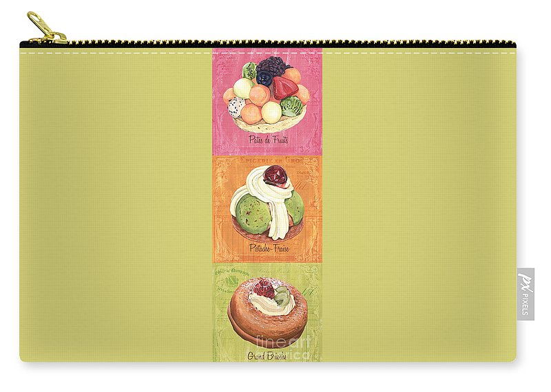 Pastry Carry-all Pouch featuring the painting Epicerie Panel 2 by Debbie DeWitt