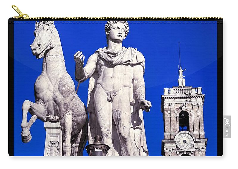 Piazza Del Campidoglio Carry-all Pouch featuring the photograph Equestrian Statue At Capitoline Hill by Stefano Senise