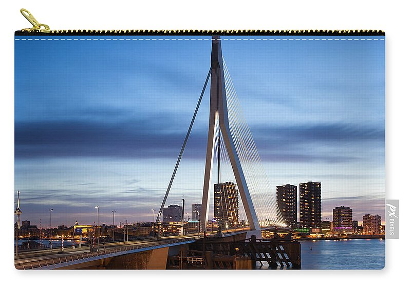 Erasmus Carry-all Pouch featuring the photograph Erasmus Bridge And City Skyline Of Rotterdam At Dusk by Artur Bogacki