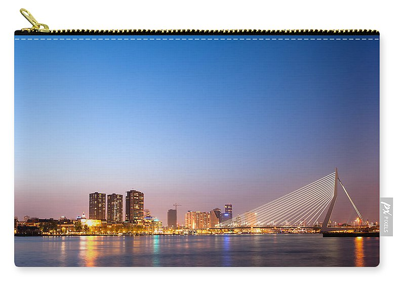 Rotterdam Carry-all Pouch featuring the photograph Erasmus Bridge In Rotterdam At Dusk by Artur Bogacki