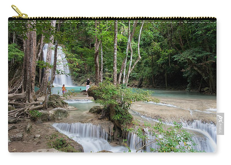 Erawan Carry-all Pouch featuring the photograph Erawan National Park In Thailand by Artur Bogacki