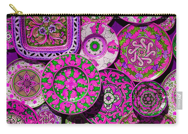 Plate Carry-all Pouch featuring the photograph Erice Sicily Plates Pink by Mike Nellums