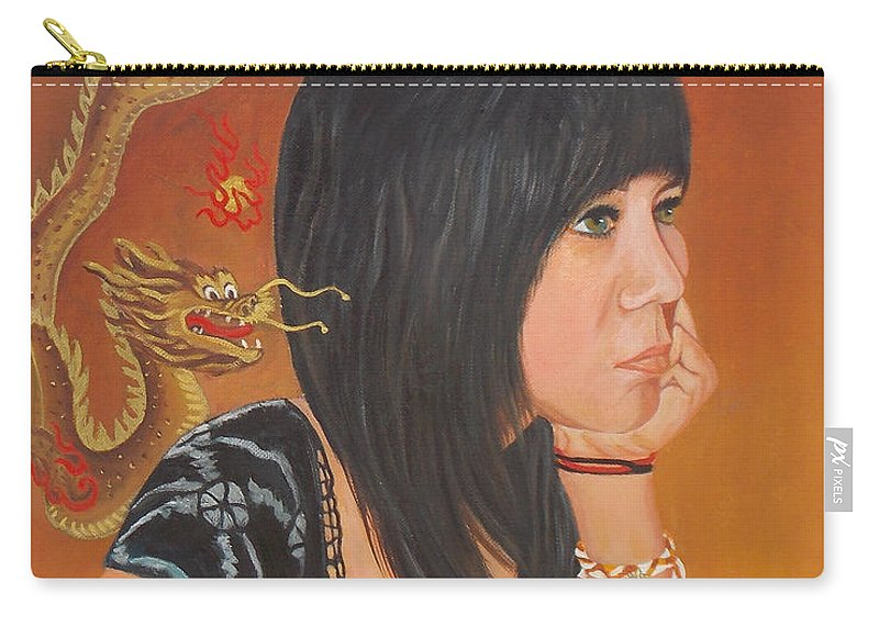 Dragons Carry-all Pouch featuring the painting Erika by To-Tam Gerwe