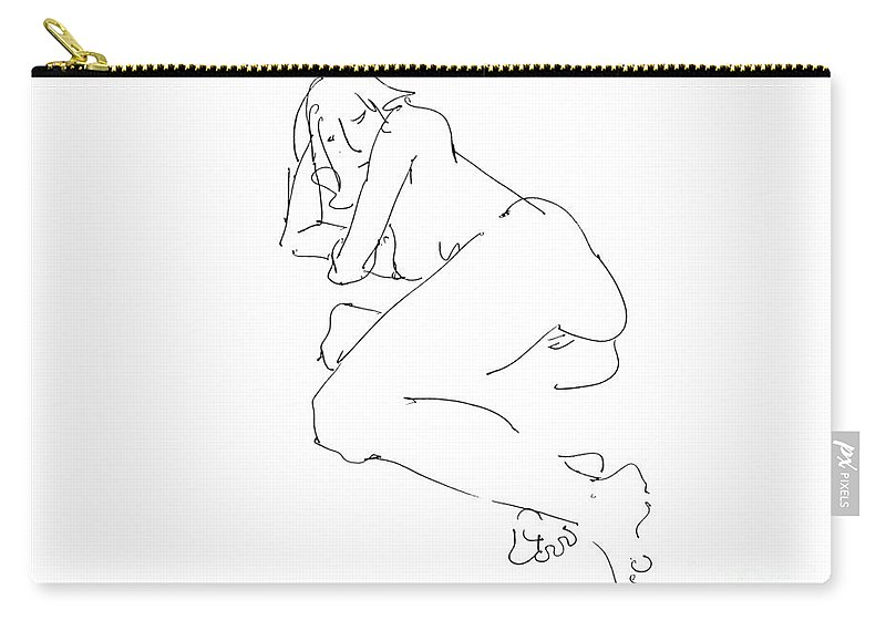 Erotic Renderings Carry-all Pouch featuring the drawing Erotic-female-drawings-21 by Gordon Punt