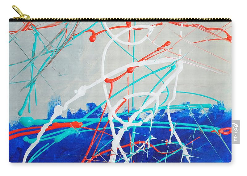 Acrylic Carry-all Pouch featuring the painting Erupting Blues by Paulette B Wright