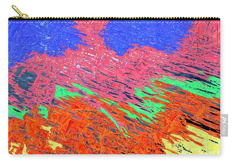 Abstract Carry-all Pouch featuring the digital art Erupting Lava Meets The Sea by Joseph Baril
