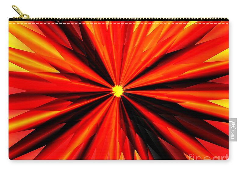 Eruption Carry-all Pouch featuring the digital art Eruption In Red by Eric Nagel